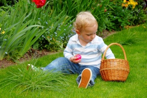 child with easter basket
